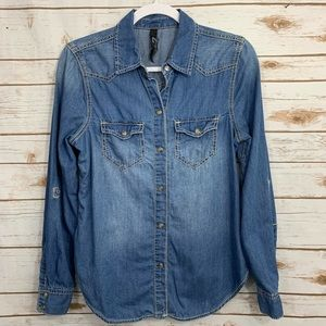 Seven Jeans Button Down Chambray Roll Sleeve Shirt